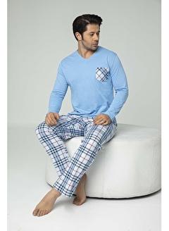Aydoğan Erkek Süprem Mavi Altı Ekoseli Pijama Takımı